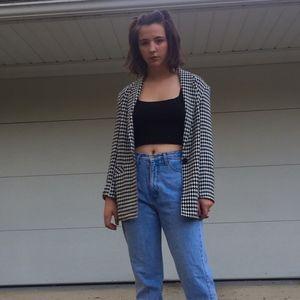 VINTAGE 80s Checkered Blazer Jacket Top